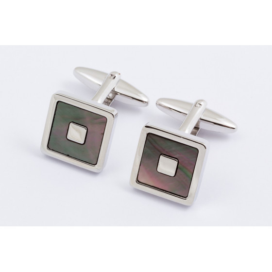 Black mother of pearl square cufflinks
