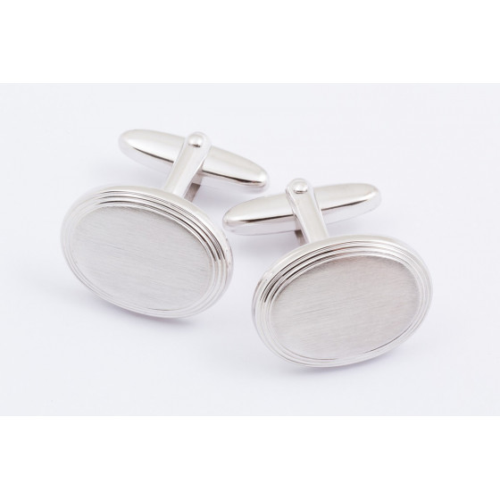 Brushed oval cufflinks