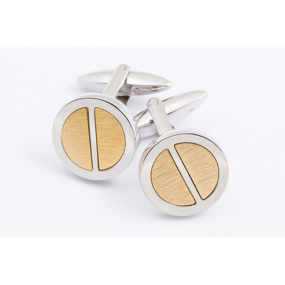 Gold half-circle rounded cufflinks