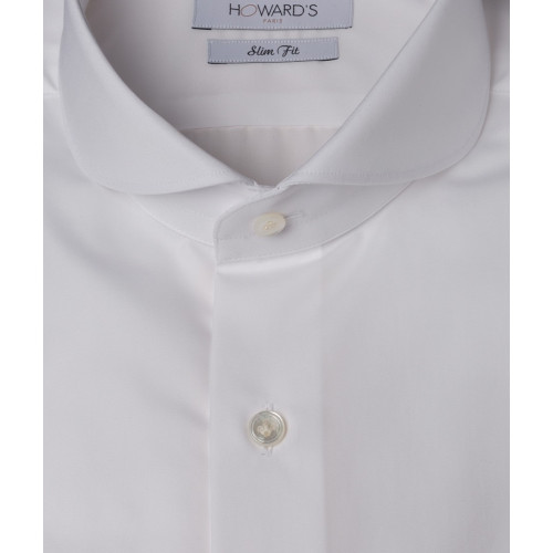 Chemise Bocchiola col cut-away round popeline blanche poignets mousquetaires
