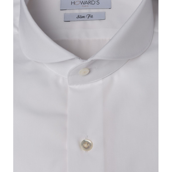 Chemise Castellitto col cut away round popeline blanche