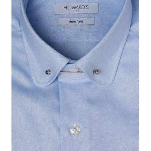 Cicognara blue pin-collar oxford shirt