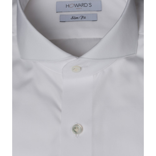 Chemise col cut-away popeline blanche poignets mousquetaires Howard's Paris