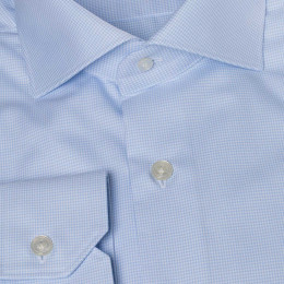 Canove blue twill houndstooth shirt