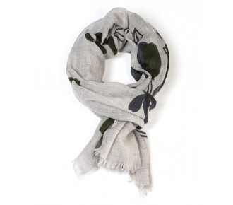 Light grey and wide green flowers wool scarf