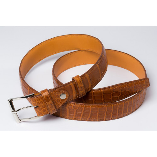 ceinture marron en crocodile