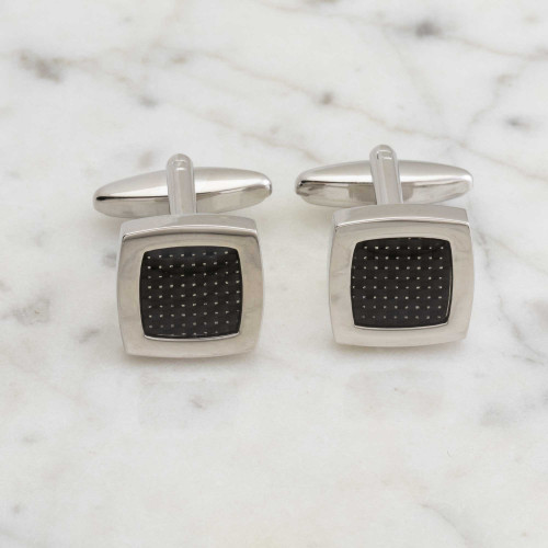 Carbon core square cufflinks