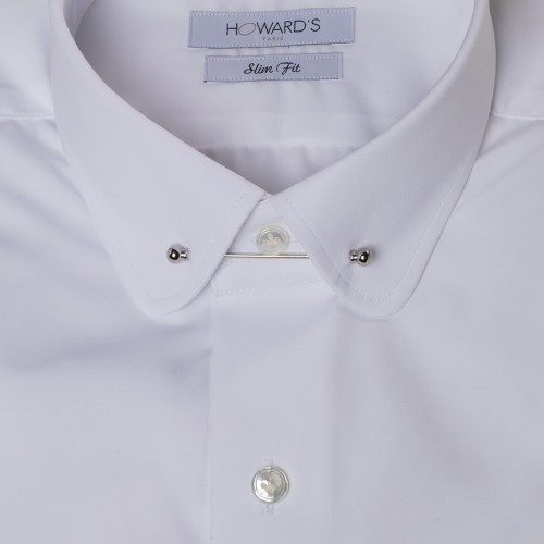 Maraini white pin-collar poplin shirt