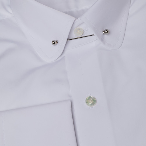 Wilcock pin collar white poplin shirt