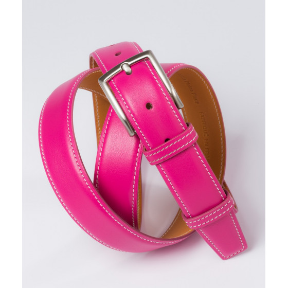 Ceinture en cuir rose Howard's Paris
