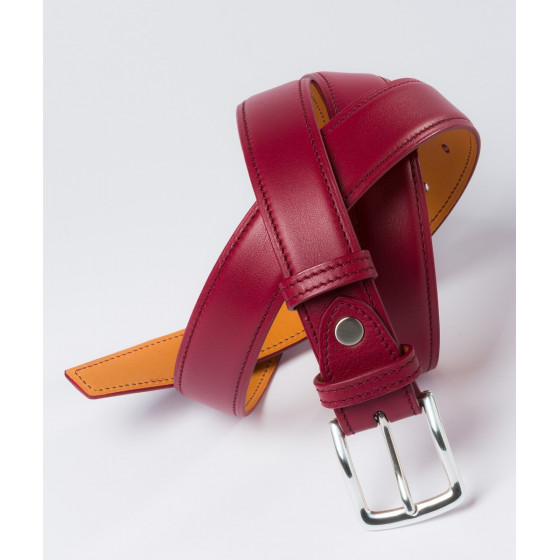 Ceinture en cuir bordeaux Howard's Paris
