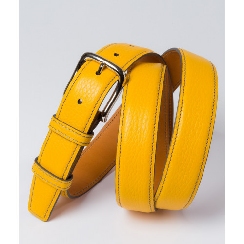 Ceinture en cuir jaune Howard's Paris